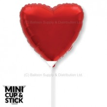 "Mini 9"" Air-filled Red Heart Solid Colour Stick Balloons"