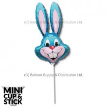 Mini Blue Air-Filled Rabbit Heads - Pack 12