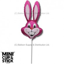 Mini Magenta Air-Filled Rabbit Heads - Pack 12