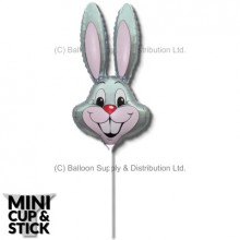 Mini Grey Air-Filled Rabbit Heads - Pack 12