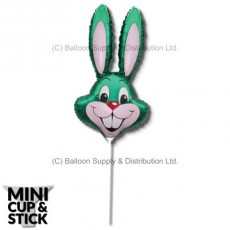 Mini Green Air-Filled Rabbit Heads - Pack 12