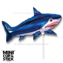 Mini Blue Shark Air-Filled Stick Balloon