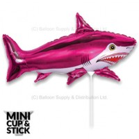 Mini Pink Shark Air-Filled Stick Balloon