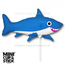 Mini Blue Happy Shark Air-Filled Stick Balloon