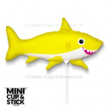 Mini Yellow Happy Shark Air-Filled Stick Balloon