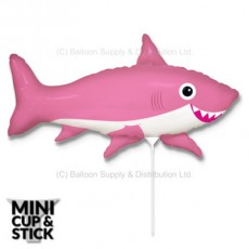 Mini Pink Happy Shark Air-Filled Stick Balloon