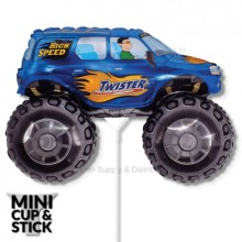 Mini Blue Big Wheels Monster Truck Air-Filled Stick Balloon