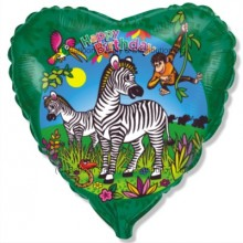"18"" Birthday Zebras Balloon"