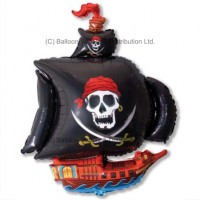 XL Jumbo Black Pirate Ship Shape Balloon