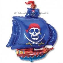 XL Jumbo Blue Pirate Ship Shape Balloon
