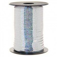 500m Holographic Silver Balloon Curling Ribbon