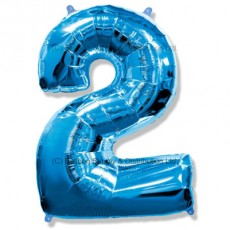Jumbo Number 2 Balloon - Blue