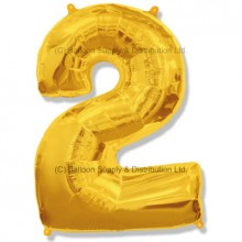 Jumbo Number 2 Balloon - Gold