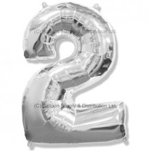 Jumbo Number 2 Balloon - Silver