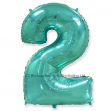 Jumbo Number 2 Balloon - Mint Green