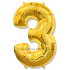Jumbo Number 3 Balloon - Gold
