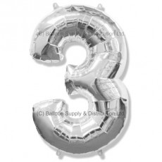 Jumbo Number 3 Balloon - Silver