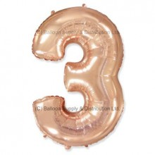 Jumbo Number 3 Balloon - Rose Gold