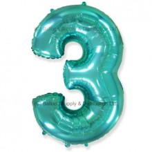 Jumbo Number 3 Balloon - Mint Green