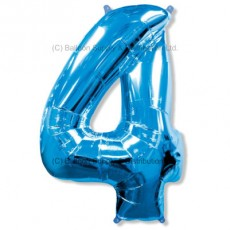 Jumbo Number 4 Balloon - Blue