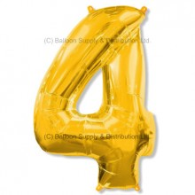 Jumbo Number 4 Balloon - Gold