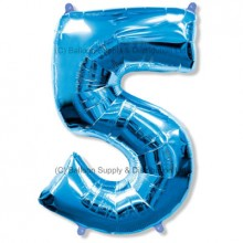 Jumbo Number 5 Balloon - Blue