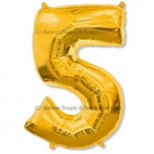 Jumbo Number 5 Balloon - Gold