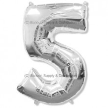 Jumbo Number 5 Balloon - Silver