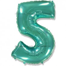 Jumbo Number 5 Balloon - Mint Green