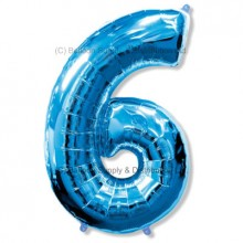 Jumbo Number 6 Balloon - Blue