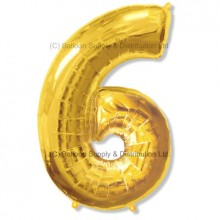 Jumbo Number 6 Balloon - Gold