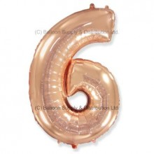 Jumbo Number 6 Balloon - Rose Gold