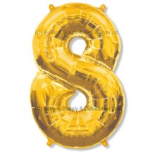 Jumbo Number 8 Balloon - Gold