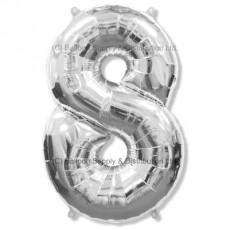 Jumbo Number 8 Balloon - Silver