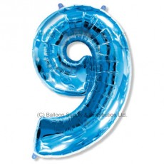 Jumbo Number 9 Balloon - Blue