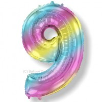 Jumbo Number 9 Balloon - Gradient Pastel Rainbow