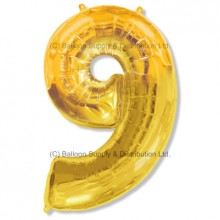 Jumbo Number 9 Balloon - Gold