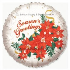 "18"" Poinsettia Season's Greetings Balloon"