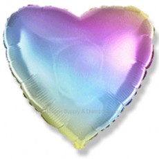 "18"" Decor Gradient Pastel Rainbow Heart Balloon"