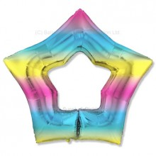 "32"" Ultra Pastel Gradient Rainbow Cutout Star Balloon"