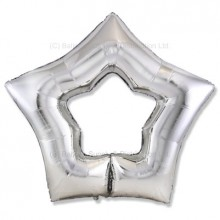 "32"" Ultra Silver Cutout Star Balloon"