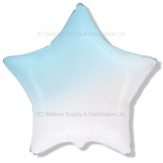 "32"" Ultra Decor Gradient White to Baby Blue Star Balloon"