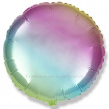 "18"" Decor Gradient Pastel Rainbow Round Balloon"