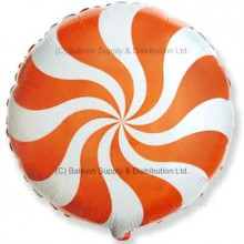 "18"" Decor Orange Candy Swirl Balloon"