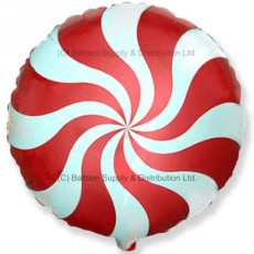 "18"" Decor Red Candy Swirl Balloon"