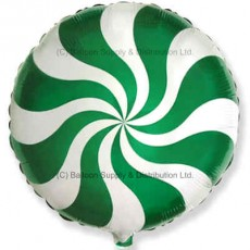 "18"" Decor Green Candy Swirl Balloon"