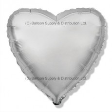 "32"" Decor Silver Heart Balloon"