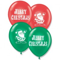 "11"" Tuf-Tex Printed Merry Christmas/Santa Design Crystal Red Emerald Green Decorator Balloons - 100-Pack"