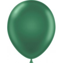 "11"" Tuf-Tex Metaltone Forest Green Decorator Balloons - 72-Pack"