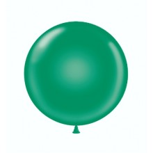 "17"" Tuf-Tex Crystal Emerald Green Decorator Balloons - 50-Pack"